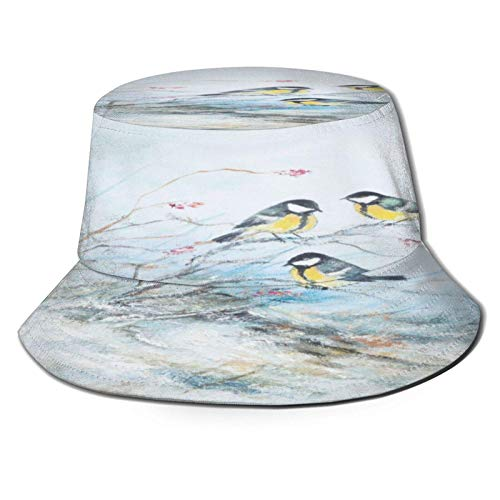 Sombrero de Cubo con Pintura de Rama de pájaros Chinos, Gorra de Verano Unisex al Aire Libre, Sombreros de Sol Plegables para Senderismo, Deportes de Playa, Negro