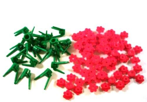 LEGO–Stiele und Blumen (20Teile, 3Blumen je Stiel), grün und rot