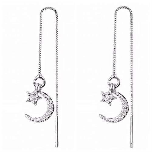 iszie Ohrringe, Sterlingsilber, süßer Mini-Kristall, Motiv: Mond und Stern, zum Durchziehen