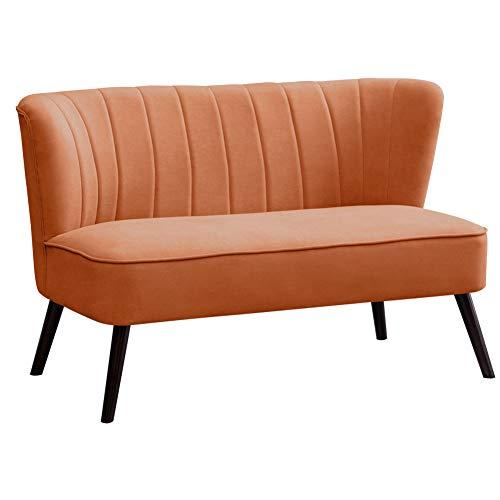 FUKEA 2 Seater Corner Sofa Velvet Spring Padding Small Loveseat Seater Settee couch Hold 300kg Tiny Sofa for Bedroom Living Room(Orange)