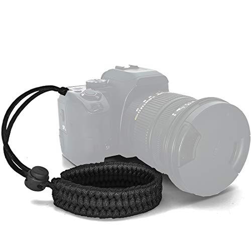 Ruberg Handschlaufe Seil Handgelenk-Schlaufe Kamera Armband Universal Kameragurt Verstellbar Paraord Kamera Handschlaufe für Canon Nikon Sony Fujifilm Olympus DSLR SLR Schwarz