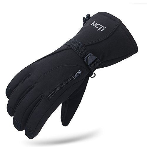 MCTi Waterproof Mens Ski Gloves Winter Warm 3M Thinsulate Snowboard Snowmobile Cold Weather Gloves Black Large