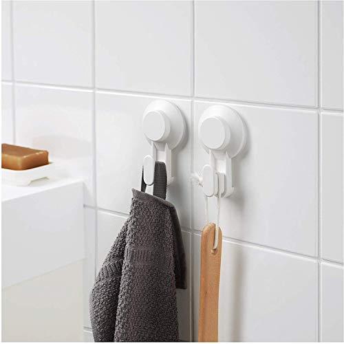 IKEA TISKEN Handtuchhaken mit Saugnapf, weiß, ohne Bohren, 4 Stück