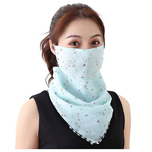 WEXCV Face Schal Bandana Halstuch Mundschutz Multifunktionstuch Gesichts Staubdicht UV-Schutz Atmungsakti Sommer Chiffon Tuch