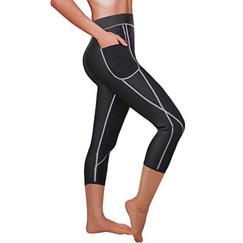 UKKD Fitnessbroek voor dames, sauna, gewichtsverlies, afslanken, dames, gym, hardlopen, bodyshaper, zijzak, thermo, zweetlegging, fitness