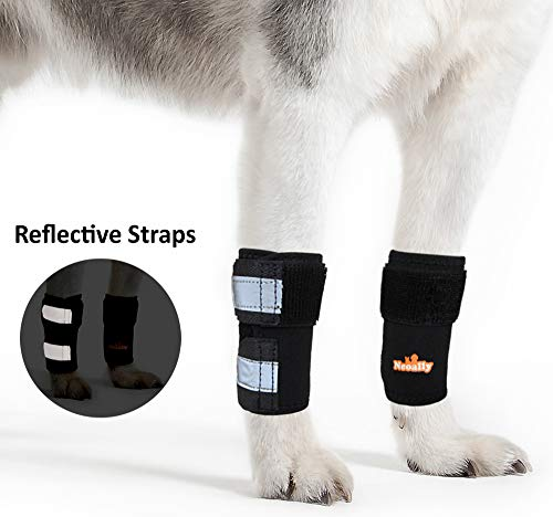 NeoAlly Pair of Front Leg Braces for Dog & Cat Canine Carpal Support with Safety Reflective Straps...