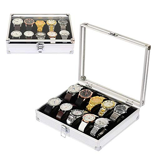 TQ Nützliche Aluminium Uhren Box 12 Grid Slots Schmuck Uhren Display Aufbewahrungsbox Platz Fall Wildleder Innerhalb Rechteck Uhr Halter