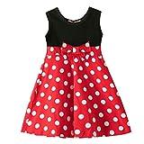 Julhold - Vestido de algodón para bebé y niña, diseño informal sin mangas, estampado de lunares, para verano, 1 a 6 años Rojo rosso 3-4 Años
