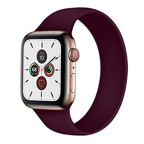 ATEANO for Apple Watch Bands 40mm 38mm,Electic Soft Rubber Replacement Bracelet for Apple iWatch Series 1/2/3/4/5/6/SE Dark Red, 38/40mm (M)