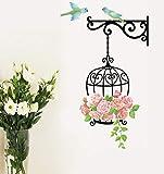 ZBYLL Pegatinas De Pared Lindo Pájaros De Jaula De Perico Flor Rosa Viñas Mural Adhesivo De Vinilo Guardería Infantil Home Decor Decoración Art Wall Sticker