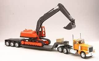 "Diecast Toy Model Big Rig Long Haul Truck 1:32 Scale Peterbilt 379 Lowboy with Excavator, Yellow / Orange / Multicolor, 24"" x 4"" x 8"""