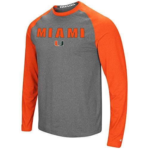 Colosseum Herren NCAA-Buzzer Beater Raglan-T-Shirt, langärmlig, meliert, Herren, Miami Hurricanes, Large