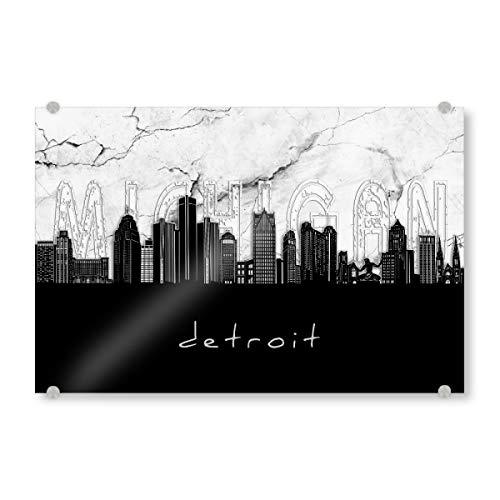 artboxONE Acrylglasbild 30x20 cm Städte Detroit Skyline Marble Bild hinter Acrylglas - Bild Detroit Michigan usa