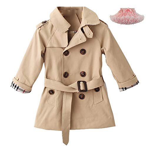 LSERVER Kids Boys Trench Coat Toddler Girls Windbreaker Autumn Spring Jacket Children Outwear British Coats Camel, Camel, 4-5T