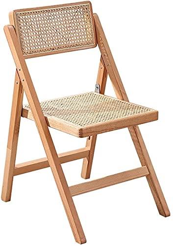 Auoeer Klappstühle Retro Handgemachtes Rattan-Massivholz-Klappstuhl, Tragbare Freizeit-Freizeit-Rückenlehne Speisenstuhl Für Hotelrestaurant Camping-Stühle (Farbe : A)