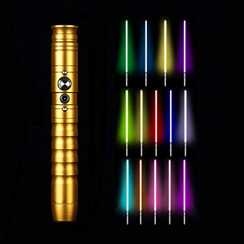 Y&Z RGB Lightsaber, 11 sables de luz Star Wars Fx cambiables de Color, para niños, Adultos, Navidad, Fiesta, Cosplay (empuñadura de Metal con Hoja de 64 cm), Gold