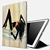 Carcasa con Magnetic Auto-Sueño,Pin Up Girl Long Curly Haired Young Lady with Bikini Posing Figure Pale Orange Blue Grey and,Ligéra Protectora Suave Silicona TPU Smart Cover Case para iPad 5./6.