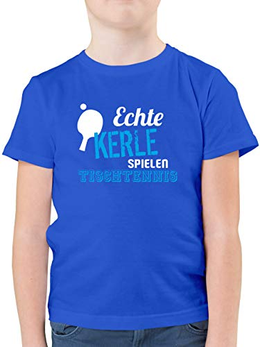 Sport Kind - Echte Kerle Spielen Tischtennis - 140 (9/11 Jahre) - Royalblau - t-Shirt Jungs Tischtennis - F130K - Kinder Tshirts und T-Shirt für Jungen