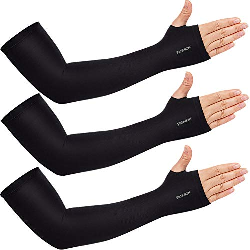 beister 3 Paar Arm Sleeves UV-Sonnenschutz Armmanschetten Finger Tattoo Cover für Herren Damen, Kühlarmschutz für Baseball, Laufen