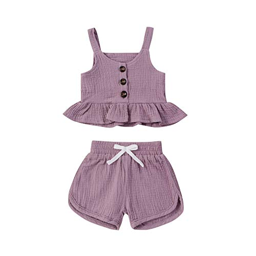 Newborn Infant Baby Girl Clothes Ribbed Knitted Ruffle Strap Top + Floral Shorts Summer Outfits Sets Purple