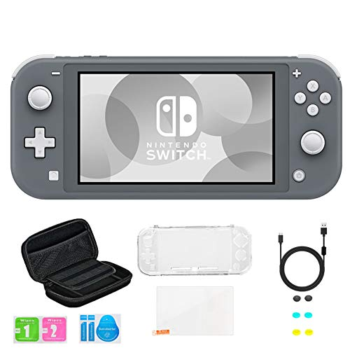 Newest Nintendo Switch Lite Game Console, Gray, Bundled with 8-1 Accessories Include Portable Carry Bag & Cover Case & USB Charging Cable & 6 Thumb Grips & HD Tempered Glass Screen Protectors