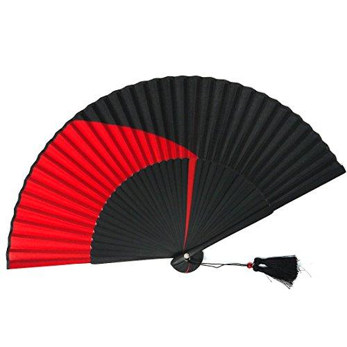 絹貼扇子 黒染め ツートンシルク 竹 房付き 扇子袋付き (赤)