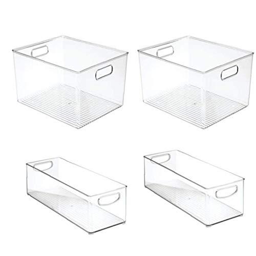 fedsjuihyg Refrigerador Organizador Congelación De Almacenamiento Caja del Cajón De La Cocina Extraíble Recipiente Transparente con Asas 4pcs del Organizador del Almacenaje