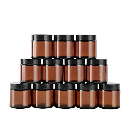 Amber Glas Leerdose klarer Tiegel 60ml 12 Stück Töpfchen Döschen Set für Lotion, Creme, Mini-Kerzen, Kosmetik