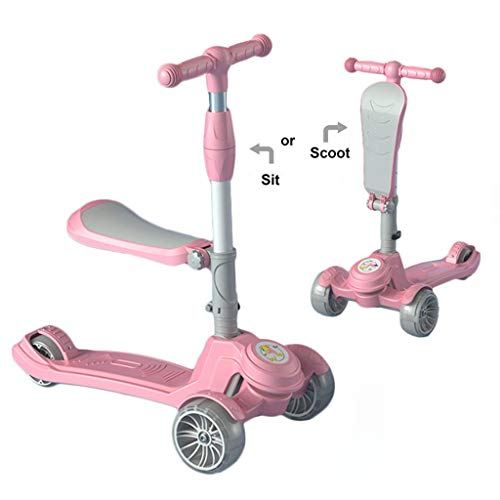 Buy Bargain Scooter NLIAN- 2-in-1 3 Wheels Kick, with Folding Seat for Kids & Toddlers 4 Adjustable ...