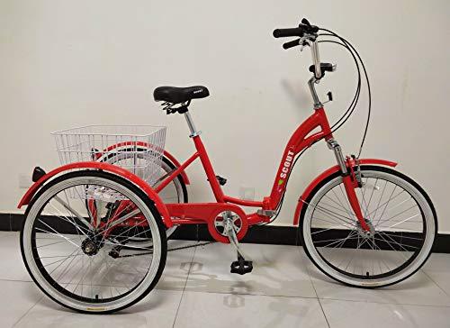 Scout trikes Triciclo Adulto, Bastidor Plegable, suspensión Delantera, Engranajes Shimano de 6 velocidades (Rojo)