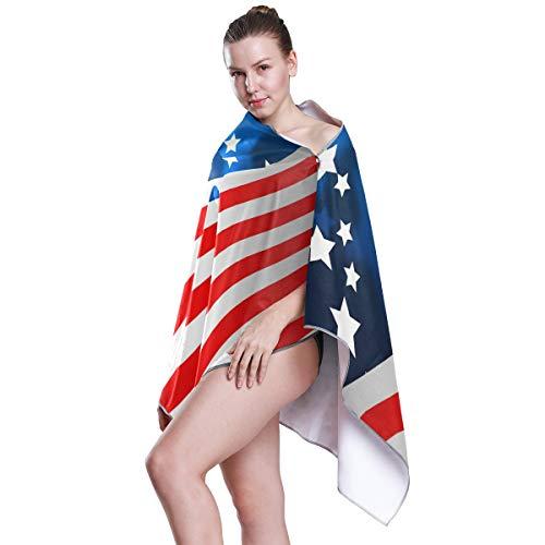 linomo Badetuch USA Amerikanisch Flagge Saugfähig Schnell trocknend Badwäsche Bad Duschtücher für Kinder Mädchen Jungen Erwachsene