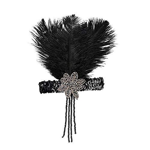 POachers Années 1920 Plume Bandeau Flapper Great Gatsby Coiffe Vintage Casque Accessoires