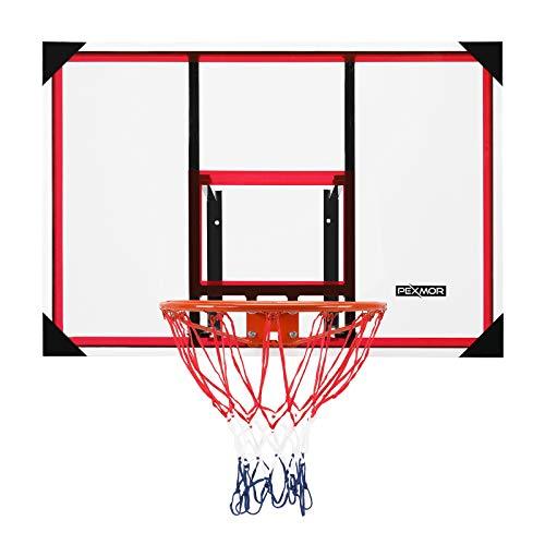 PEXMOR Wall-Mount Basketball Backboard Hoops & Goals Rim Combo Kit&Shatterproof Polycarbonate Board&All-Steel Rustproof Frame&for Standard No.7 Balls