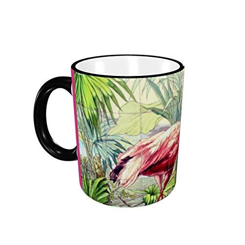 Art Deco Pink Flamingos Keramik Kaffeebecher für Büro und Zuhause, Teetasse für Kaffee, Tee, Milch oder Kakao Einzigartiges Festival Geburtstagsgeschenk für Männer Frauen 11oz