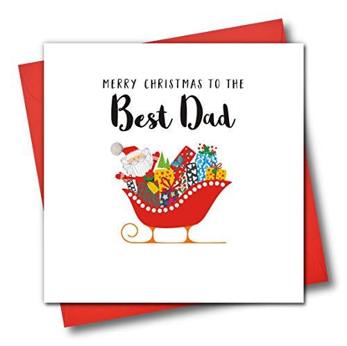 Versierd Kerstmis Wenskaart, Vrolijk Kerstfeest Aan De Beste Vader, Kerstman en Slee