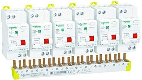 Schneider R9D01610KIT FI/LS - Interruptor FI/LS Resi9 KIT, 2 pines, 10 A, características B, 30 mA