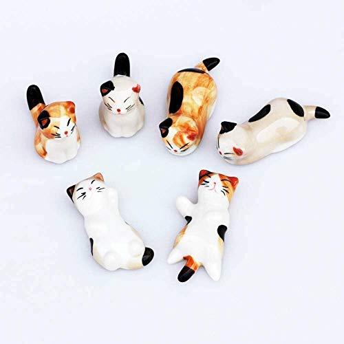 Set di 6 coltelli e bacchette in ceramica giapponese a forma di gatto
