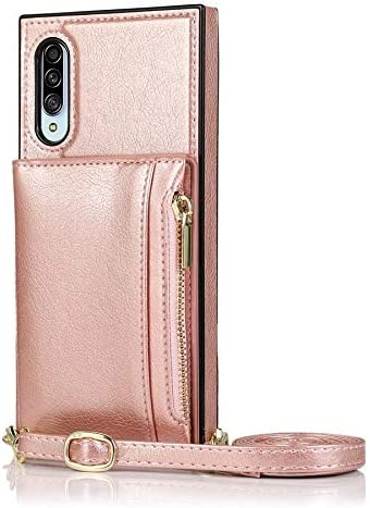 Case for Samsung Galaxy A90 5G, Zipper Wallet Case with Credit Card Holder/Crossbody Long Lanyard, Shockproof Leather TPU Case Cover for Samsung Galaxy A90 5G (Color : Rosegold)