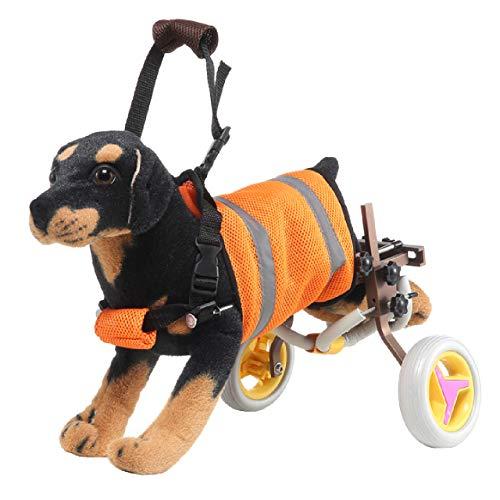 sac taske 犬用 車いす ペット 歩行器 小型犬用 車椅子 ドックウォーカー 補助輪 (ブラウン)