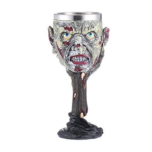 SM SunniMix 3D Zombie Goblet Taza de Resina de Acero Inoxidable Realista Taza Cerveza Gothic Holloween