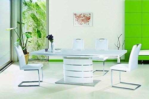 Tisch Esstisch 'Fano 180' Esszimmertisch Säulentisch 90x240 Hochglanz weiß ausziehbar edel