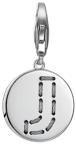 Esprit Damen-Charm 925 Sterling Silber rhodiniert Letter Fabric J ESCH91132A000