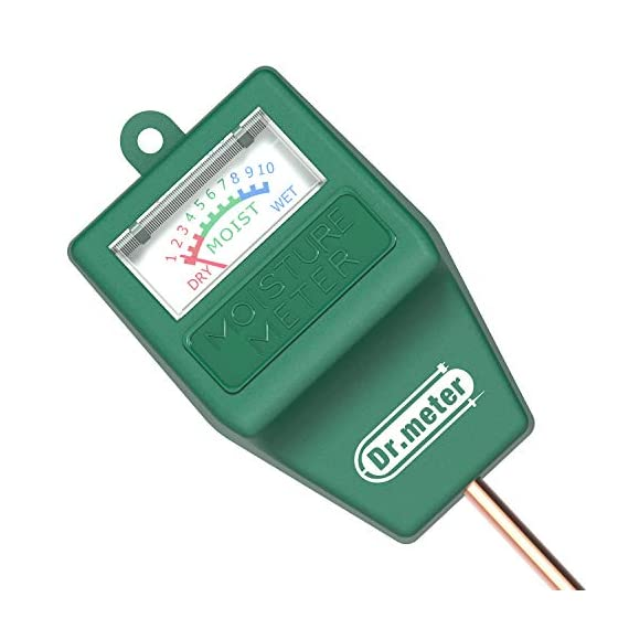 Soil Moisture Meter, S10 Soil Test Kit, Dr.meter Moisture Meter for Plants, Plant Water Meter for Garden Lawn Farm… 1 ▶ 【Compact & Portable】 Have you been sticking your finger in the soil hoping to feel when it's time to water? Why not eliminate the guesswork and keep your hands clean when you use the Dr.meter Soil Moisture Sensor Meter! Know the right time to water your garden, farm, lawn and plants, anytime. ▶ 【Easy to Read】No experience required--while this machine is sophisticated, it's not complicated! With an interface using ten scales and a color-coded reading system from red, green to blue, it's never been more straightforward reading your soil moisture. ▶ 【No Batteries Required】Who needs batteries or electricity? Just plug stick it into the ground and get a reading in no time!