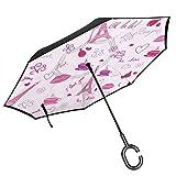 パリでコーヒーを飲む 長い傘 車の逆傘 折りたたみ傘 大きいサイズ 傘 日傘 雨傘 防風 防水 紫外線対策 持ち運びが簡単