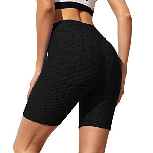 SotRong Damen-Shorts mit Wabenmuster, für Laufen, Radfahren, Yoga, Sport, Fitnessstudio, hohe Taille, gerüscht, Booty Gr. Medium, Schwarz