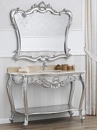 Simone Guarracino Console Meuble Salle de Bain avec Miroir Eleonor Style Baroque Moderne Feuille Argent marbre crème