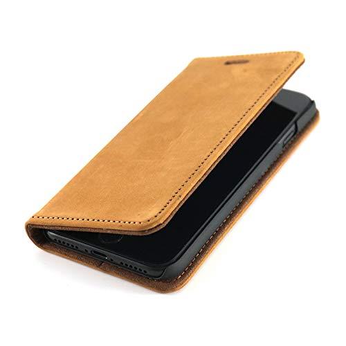 Wormcase Echt Ledertasche - für Apple iPhone SE 2020 & iPhone 8/7 - Handytasche mit Kartenfach – Magnetverschluss - Braun - Klapphülle/Schutzhülle
