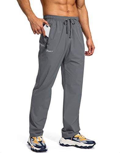 Pudolla Men's Workout Athletic Pants Elastic Waist Jogging Running Pants for Men with Zipper Pockets (Dark Grey Medium)