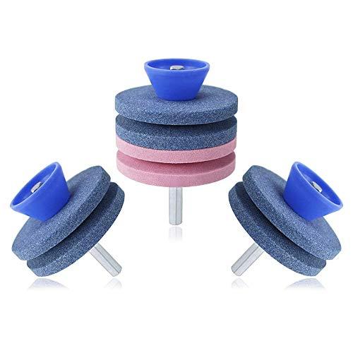 CDS 3 piezas amoladoras para cortadora de césped, afilador de césped, rueda de afilado para herramientas de jardin/cortacésped cuchillos
