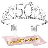 ZWOOS Corona per Compleanno 50 anni Cristallo Strass Corona Compleanno Tiara con Sash